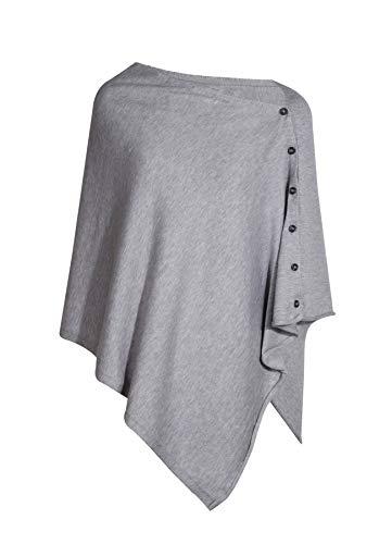 PULI Damen Strickschal mit Knopfleiste und Poncho-Decke, Umhang, Strickjacke, Einheitsgröße Gr. Einheitsgröße