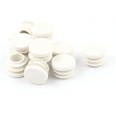 Plástico Blanco Ciego Tapones Para Patas 16mm Tubo Redondo Enchufe Tapón 12Pcs