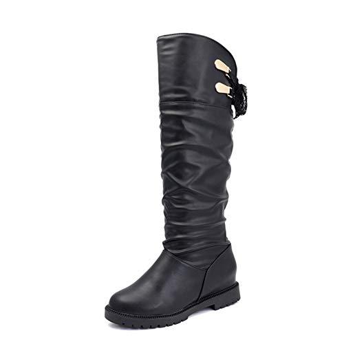 Frauen Kniehohe Stiefel Winter Warm Slip-on Runde Zehe Höhe Zunehmende Karree Denim Weibliche Kurze Plüsch Martin Booties