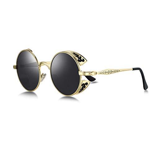 WHCREAT Retro Rund Steampunk Polarisierte Sonnenbrille Geprägtes Muster Brillen Für Herren Damen (Gold Rahmen - Schwarze Linse)