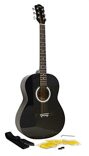 Martin Smith Akustikgitarren-Set mit Gurt, Saiten, Plektren, W-100 Standard schwarz (Mit String Gitarren-gurt)
