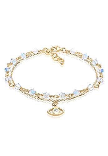 Elli Damen-Armband Kugel Layer Evil Eye 925 Silber Kristall weiß 16 cm - 0204822517_16