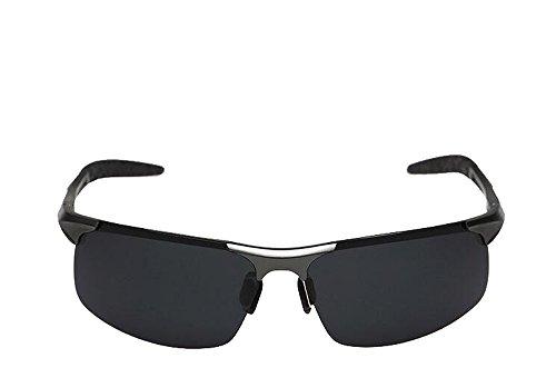 2449e80a2b91 Minla Hommes UV400 lunettes de soleil polarisšŠes protectrices lunettes de  soleil lentille noire en aluminium sport