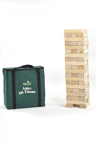 Jumbo Hi-Tower in a Bag, Builds from 0.6 Metres up To a Maximum of 1.5 Metres in Play, Solid Pine Wood Tumble Tower Game by Garden Games