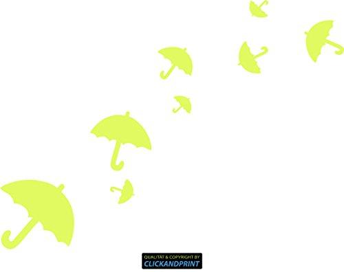 CLICKANDPRINT Aufkleber » Regenschirme, 30x21,8cm, Neon Gelb • Dekoaufkleber / Autoaufkleber / Sticker / Decal / Vinyl