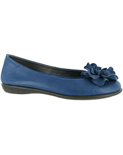 The Flexx, Mr Zucchini Cashmere Ballerina in pelle nera con fiore Trim, blu (Blue), 36.5
