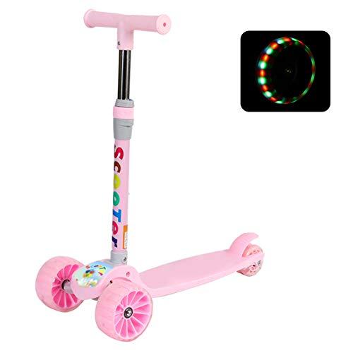 JiaQi Scooter Für Kinder,Skateboard Mit licht,Pu-blinken-rÄdern Mit Einstellbarer höhe Für Kinder 3-12 Jahre alte Schwarze-B (Skateboards Licht Rädern)