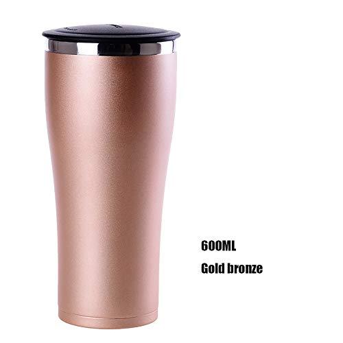 Thermoskanne Business Edelstahl Vacuum Männer Und Frauen Bier Wasser Kaffeetasse Kalte Tasse 600 ml Weithals Design Bier Kaffeetasse (Color : Brown, Size : 600ml) -
