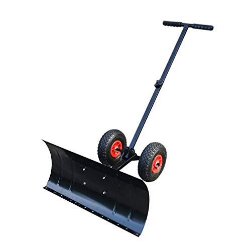 COZIME® Schneeschaufel mit Räder Schneeschild Schneeschieber Schneeräumer einstellbar fahrbar