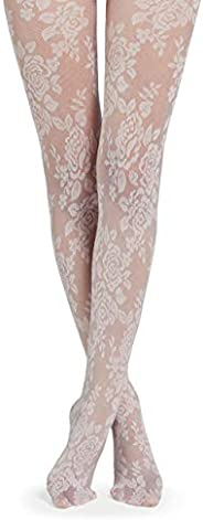 Calzedonia Women's Floral Tulle Effect Tights, M-L,