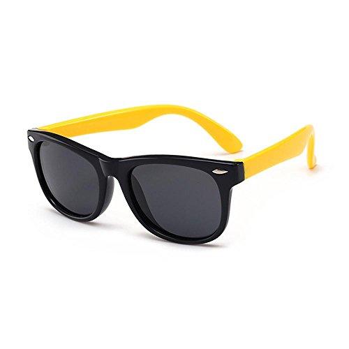 Pawaca Kinder Sonnenbrille Anti-Radiation & Anti-UV Polarisierte Gläser für Jungen und Mädchen(Schwarz Rahmen Gelb Bein)