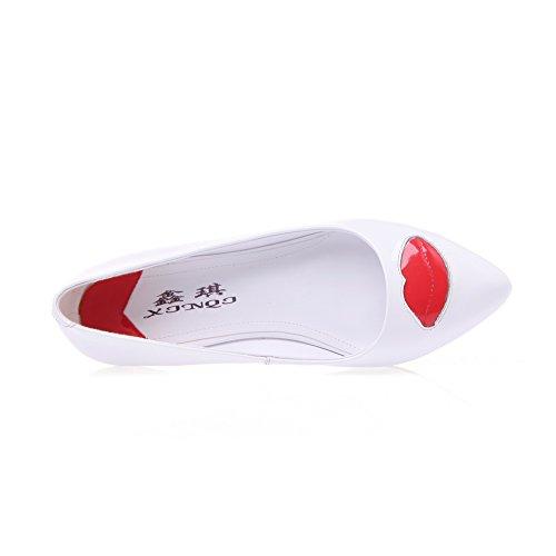 Adee Mesdames mignon Chaussures Pompes en cuir Blanc - blanc