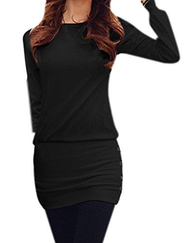 sourcingmap Femmes Col Rond Manches Longues boutonné Côtés Mini Robe Noir