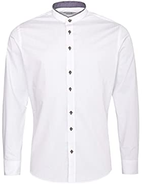 Gweih & Silk Trachtenhemd Body Fit Ferdl Zweifarbig in Weiß und Rot von
