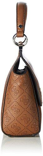 Guess - Cammie Petite Crossbody Flap, Borsa a spalla Donna Marrone (Cognac)
