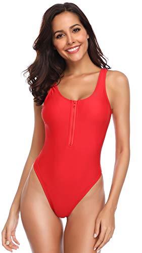 SHEKINI Damen Einteiliger Bademode Reißverschluss High Cut Badeanzug Sportlich Rückenfrei Ärmellos Monokini (Small, Rot)