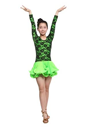 Colorfulworldstore Reguläres Mädchen/Frauen Turnierkleid für Lateinamerikanische Tänze (Lady-S-155CM Höhe, Grün)