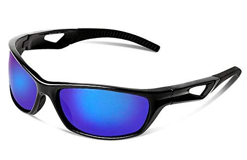 JFSKD Sportreitspiegel für Damen und Herren, Sonnenbrillen, Windschutz für Outdoor-Sportarten und insektensichere Brillen,Black/Blue