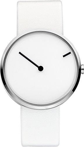Jacob Jensen 253-Armbanduhr, unisex, Leder, Farbe: weiß