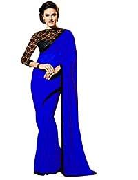 REYA Georgette Saree (SPATTIBLUE_Blue_Free Size)