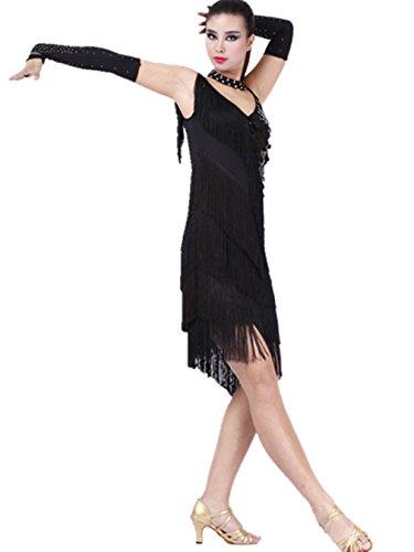 FaithYoo Damen Schößchen Kleid Schwarz - Schwarz