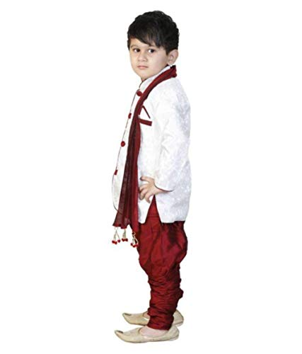 Boy's Cotton Blended Sherwani and Breeches Set (White, 2-3 Years)
