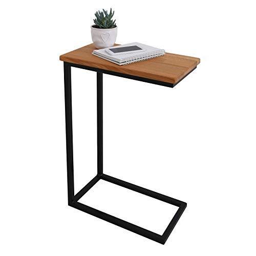 BestLoft® Beistelltisch (CSH) Laptoptisch Sofatisch Betttisch Couchtisch (Gestell schwarz+Platte hell) -