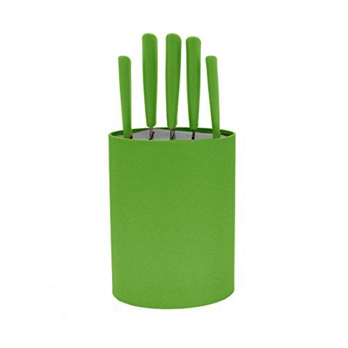 Bloc 5 couteaux lame inox vert