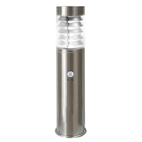 LED Standleuchte, 50cm, Bewegungsmelder und Dämmerungssensor, Sockelleuchte, Außenleuchte, Edelstahl, IP44, E27-230V (Form:S19) (Neutralweiß)