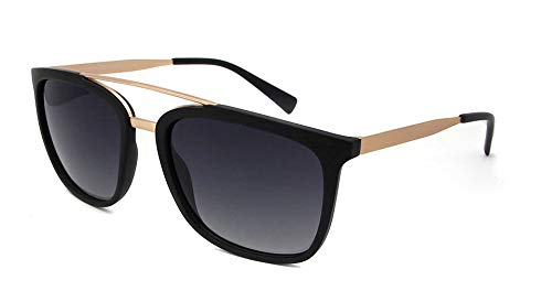 LKVNHP Polarisierten Sonnenbrillen Männer Frauen Classic Retro Pilot Sun -Glas -Marken Design Licht Tr90 Rahmen mit Legierung BrillenSchwarz Gold