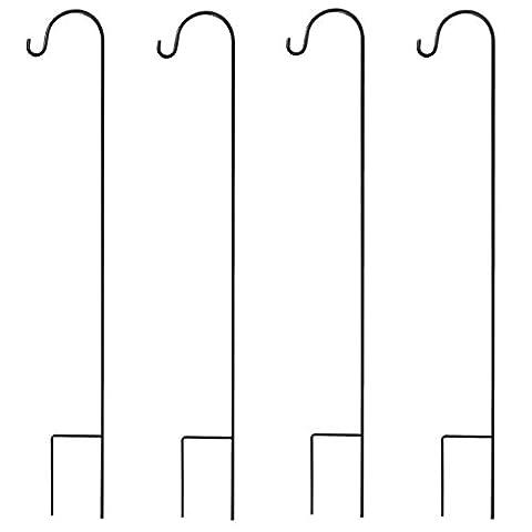 graybunny gb-6822Berger Crochet, 88,9cm, 4ampoules, en acier de haute qualité (pas de plastique) 3/25,4cm Diamètre résistant à la rouille Crochets, noir, GB-6822