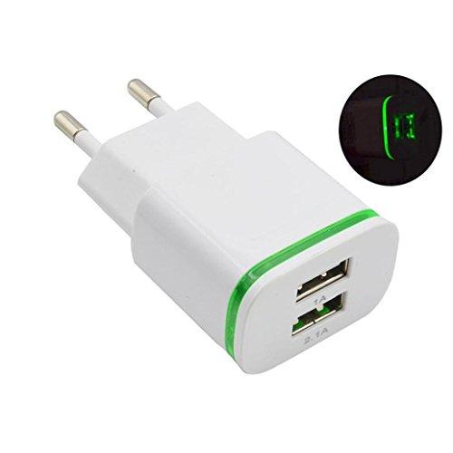 2.0A/1.0A Cargador de Pared mini USB de Doble Puerto LED luz Carga Rápida Adaptador Alimentación (Blanco)