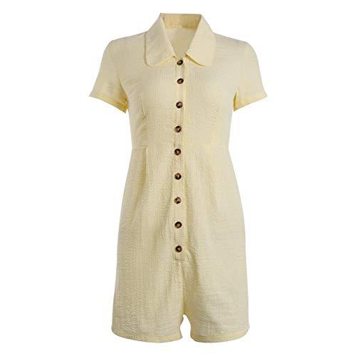 JQHLJLTY Kurzarm Jumpsuit europäischen und amerikanischen Mode Street Girl Wind Button Jumpsuit weiblich (Color : Photo Color, Size : M) (Pan Weibliche Peter Kostüm)