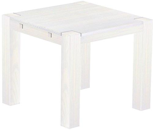 Brasilmöbel® Esstisch Rio Kanto 90x90 cm Pinie Weiss Pinie Massivholz Größe und Farbe wählbar Esszimmertisch Küchentisch Holztisch Echtholz vorgerichtet für Ansteckplatten Tisch ausziehbar