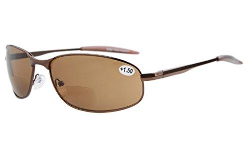 Eyekepper Metallrahmen Fischen Golf Radfahren Fliegen im Freien Bifocal Sonnenbrillen Braun +3.0