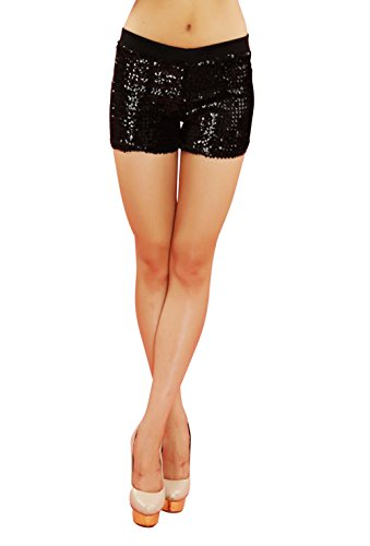 Webcajk Frauen Shorts Pailletten-Kostüm-Tanz-Performance Shorts Hosen (Black) (Gold Shorts Pailletten Mädchen)