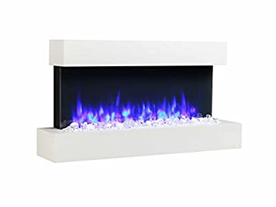 Endeavour Fires Runswick Wall Mounted Electric Fire, 220/240Vac, 50 Hz, 1&2kW, 7 day Programmable remote control with an Off White MDF Mantel & Plinth