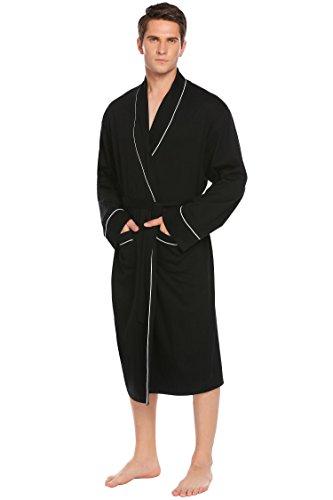 Bademantel Herren, SummerRio Morgenmantel Saunamantel Kimono Baumwolle Schalkragen Langarm mit Gürtel und Tasche M-3XL (Kimono Baumwolle Aus)