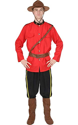 Herren Kanadische Mountie Rote Uniform der Polizei Verkleidung Kostüm Extra - National Kostüm Dress Up