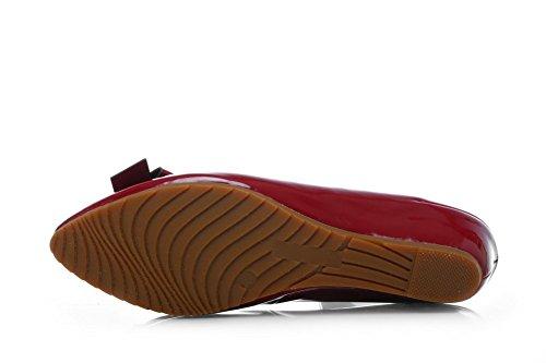 Adee Femme reffle pointed-toe brevet Chaussures Pompes en cuir Rouge - Rouge bordeaux/blanc