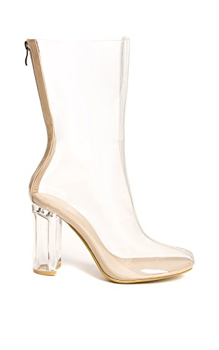 Women's Ladies Clear Perspex Ankle Boots Nude