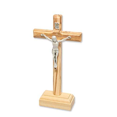 Stehkreuz Standkreuz Altarkreuz Olivenholz naturfarben lackiert mit Metall Korpus Christus Körper 18 x 9 cm Kruzifix mit Fuß Trauerkreuz