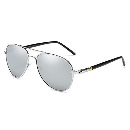 Zweifarbige polarisierte Sonnenbrille für Herren bei Tag und Nacht blau grün gelb Silber,Silver