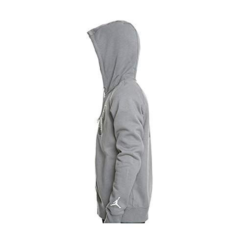 Jordan Nike Mens Flight Fleece Full Zip Hoodie Cool Grey/White AJ6390-065 Size Medium Jordan Mens Fleece