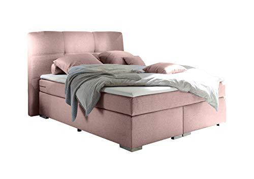 lifestyle4living Boxspringbett 140x200, rosa, Stoff   Entspannter schlafen auf dem modernen Einzelbett komplett mit Kopfteil und Topper