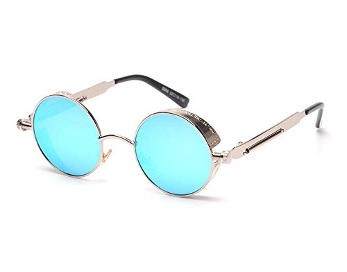 Arctic Star Vintage Steampunk Sonnenbrille, Silver Frame Blue Reflective Lenses, Mirror Width is 48 mm