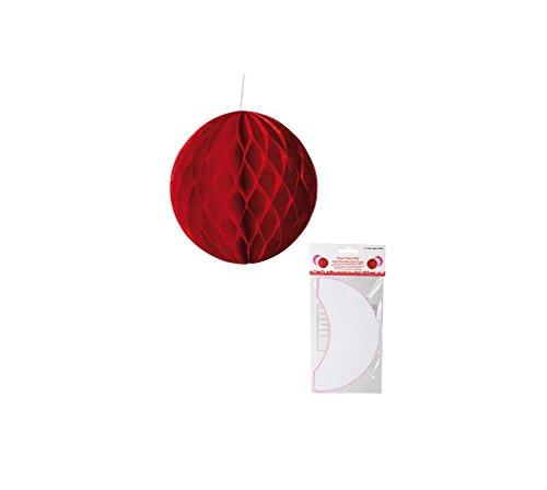 (Preis am Stiel® Papier-Deko-Ball mit doppelseitigem Klebeband rot)