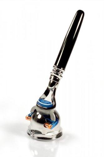 RAZZOOR Rasierset Duo für Gillette FUSION Rasierklingen - 2-teiliges Rasier-Set Männer Nassrasierer schwarz eloxiert mit Halter glanzverchromt für die klassische Nassrasur mit der 5-fach Systemklinge