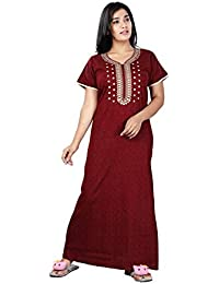 Bailey sells Women's Cotton Maxi Nighty (Maroon, Free Size)