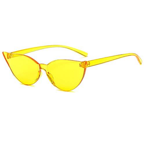 Yuanz Cat Eye Randlose Sonnenbrille Frauen Crystal Lens Sonnenbrille Frauen Brille Uv400 Eyewear,Gelb